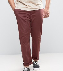 ASOS PLUS Slim Chinos In Burgundy - Red