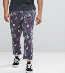 ASOS PLUS Slim Cropped Trousers In Vintage Washed Out Leaf Print - Navy