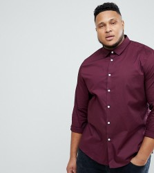 ASOS PLUS Slim Shirt In Burgundy - Black