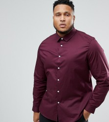 ASOS PLUS Slim Shirt In Burgundy - Red