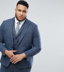 ASOS PLUS Slim Suit Jacket in 100% Wool Harris Tweed In Blue Mini Check - Blue