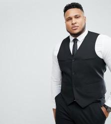 ASOS PLUS Slim Suit Waistcoat In Black - Black