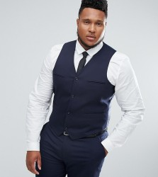 ASOS PLUS Slim Suit Waistcoat In Navy - Navy