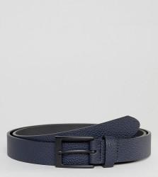 ASOS PLUS Smart Slim Belt With Pebble Grain Emboss In Navy Faux Leather - Navy