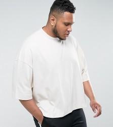 ASOS PLUS Super Oversized Boxy T-Shirt In Heavyweight - Beige