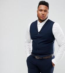 ASOS PLUS Super Skinny Fit Suit Waistcoat In Navy - Navy