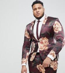 ASOS PLUS Super Skinny Suit Jacket In Burgundy Floral Print - Red