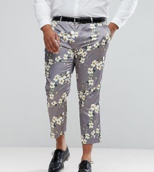 ASOS PLUS Wedding Skinny Crop Smart Trousers With Light Grey Floral Print - Grey