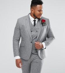 ASOS PLUS Wedding Skinny Suit Jacket In 100% Silk Textured Grey - Grey