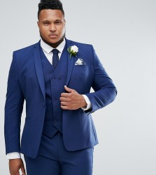 ASOS PLUS Wedding Skinny Suit Jacket in Navy Cross Hatch with Printed Lining - Navy