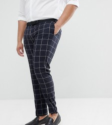 ASOS PLUS Wedding Skinny Suit Trousers In Navy Windowpane Check - Navy
