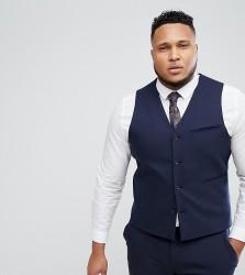 ASOS PLUS Wedding Skinny Suit Waistcoat In Navy - Navy
