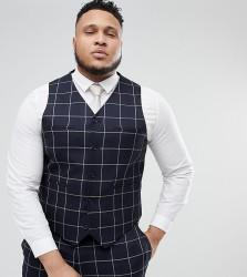 ASOS PLUS Wedding Skinny Suit Waistcoat In Navy Windowpane Check - Navy
