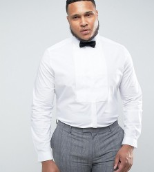ASOS PLUS WEDDING Slim Shirt with Pleat Bib - White