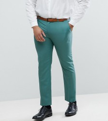 ASOS PLUS Wedding Slim Suit Trousers In Pine Green 100% Wool - Green