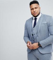 ASOS PLUS Wedding Super Skinny Suit Jacket in Mini Check - Blue