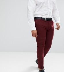 ASOS PLUS Wedding Super Skinny Suit Trousers In Wine Herringbone - Red