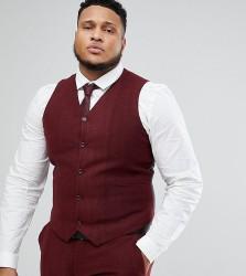 ASOS PLUS Wedding Super Skinny Suit Waistcoat in Wine Herringbone - Red