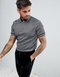 ASOS Polo Shirt In Silver Metallic Fabric With Silver Tipping And Ring Pull - Silver