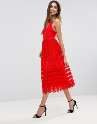 ASOS PREMIUM Broderie Midi Prom Dress with Low Back - Red