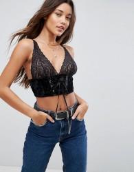 ASOS PREMIUM Carms Velvet & Lace Longline Bra Top With Corset Detail - Black