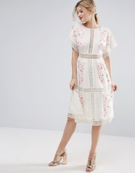 ASOS PREMIUM Embroidered Midi Dress - White