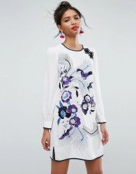 ASOS PREMIUM Embroidered Mini Shift Dress with Blouson Sleeve - Multi
