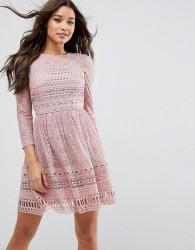 ASOS PREMIUM Lace Skater Dress - Blue