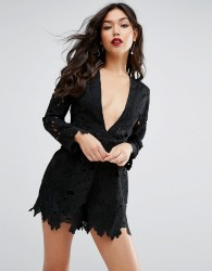 ASOS Premium Low Plunge Cutwork Lace Playsuit - Black