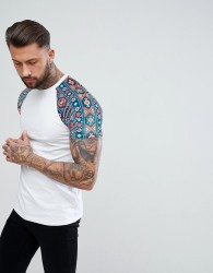 ASOS Raglan T-Shirt With Aztec Velour Printed Sleeves - White