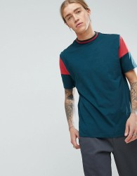 ASOS Relaxed T-Shirt With Contrast Sleeves And Tipping - Green
