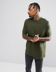 ASOS Relaxed T-Shirt With Rib Cuff And Stepped Hem - Green
