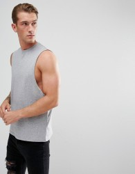 ASOS Relaxed Vest With Dropped Armhole In Grey - Grey
