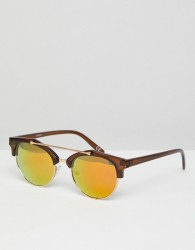 ASOS Retro Sunglasses With Brow Bar In Crystal Brown & Gold Mirrored Lens - Brown