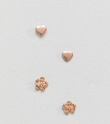 ASOS Rose Gold Plated Sterling Silver Pack of 2 Rose & Heart Stud Earrings - Copper
