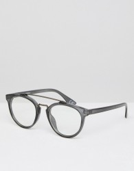 ASOS Round Clear Lens Glasses With Metal Brow Bar In Crystal Black - Black