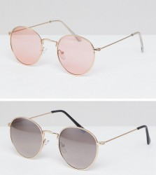 ASOS Round Sunglasses 2 Pack In Gold & Rose Gold Metal SAVE - Gold