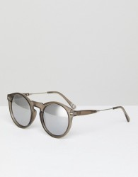 ASOS Round Sunglasses In Crystal Grey With Mirror Lens - Grey