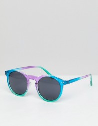 ASOS Round Sunglasses In Multi Coloured Frame With Black Lens - Multi