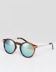 ASOS Round Sunglasses With Metal Arms And Flash Lens - Brown