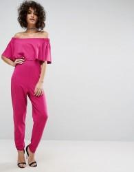 ASOS Ruffle Bardot Jumpsuit in Jersey - Pink
