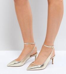 ASOS SABRINA Wide Fit Mid Heels - Gold