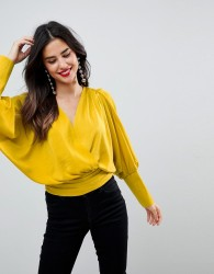 ASOS Satin Batwing Wrap Top - Yellow