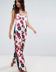 ASOS Satin Jumpsuit in Mixed Blurred Floral Print - Multi