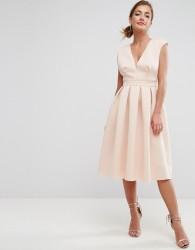 ASOS Scuba Deep Plunge Prom Midi Dress - Pink