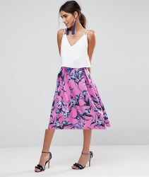 ASOS Scuba Midi Prom Skirt with Scallop Hem in Floral Print - Pink