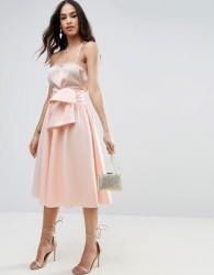 ASOS Scuba Prom Skirt with Tie Waist - Beige