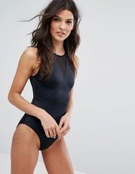ASOS 'Sculpt Me' Control High Neck Mesh Insert Supportive Swimsuit - Black