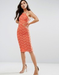 ASOS Sheer And Solid Lace Midi Pencil Dress - Orange