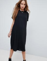 ASOS Sheer Shift Midi Dress - Black